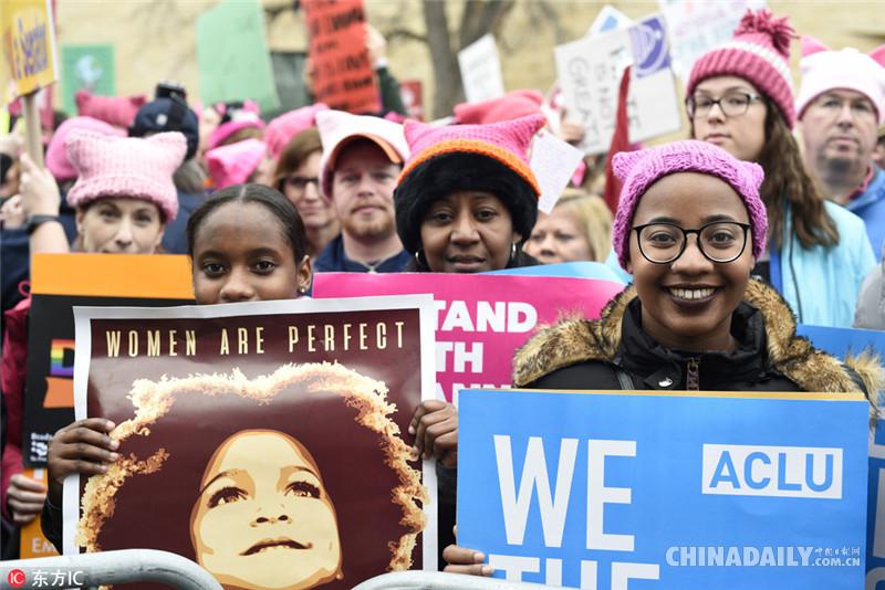华盛顿举行女性大游行抗议特朗普就任美国总统[1]- 中国日报网