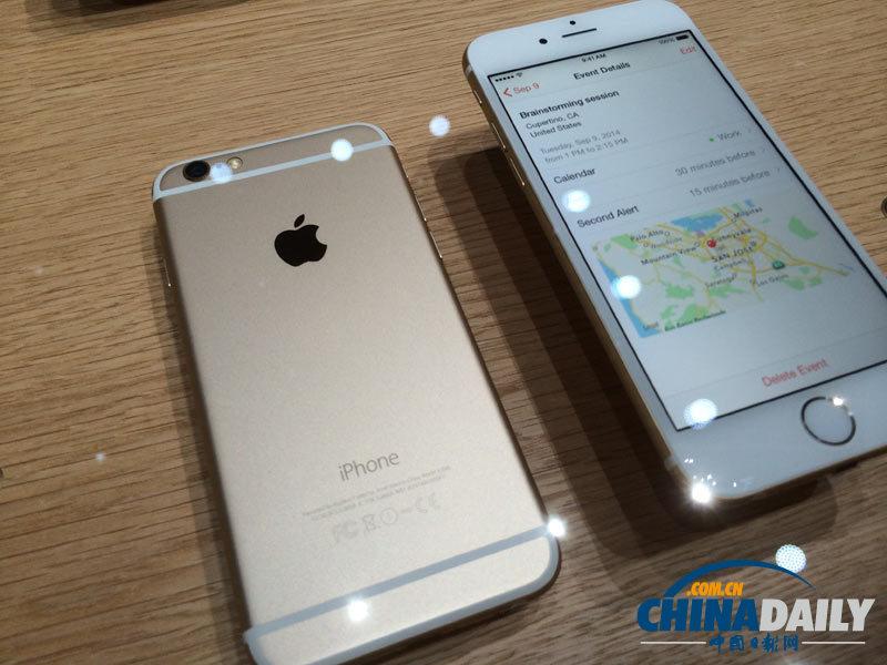 美国西部时间9月9日早10时,苹果公司在加州库部蒂诺市弗林特剧院举行发布会,发布iPhone6和iPhone6 Plus手机以及智能手表Apple Watch。图为现场体验区展示的新品。(中国日报记者 Eric Jou)