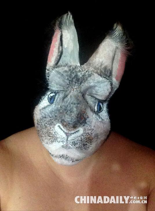 复活节将至 伦敦天才化妆师将自己变成兔子头