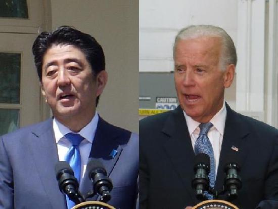 日本首相安倍晋三(左)与美国副总统拜登(右)(图片来源:台湾媒体)
