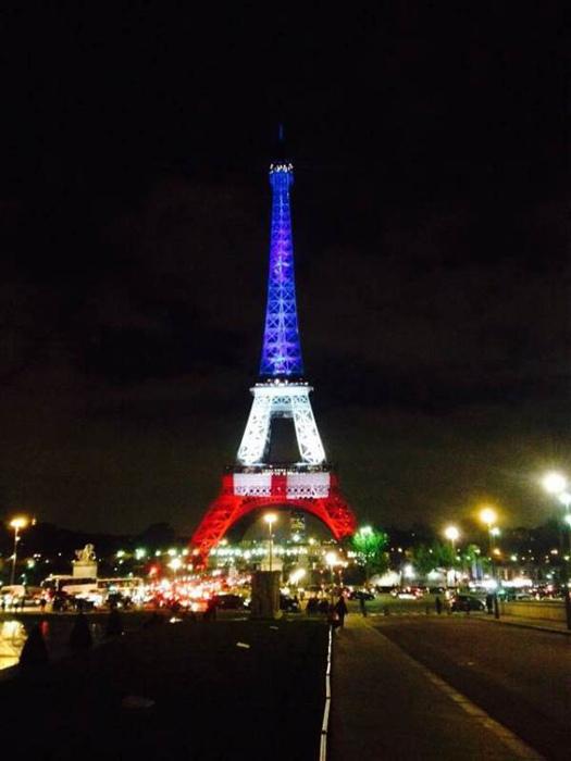 恐袭后的巴黎夜景:埃菲尔铁塔身穿国旗颜色
