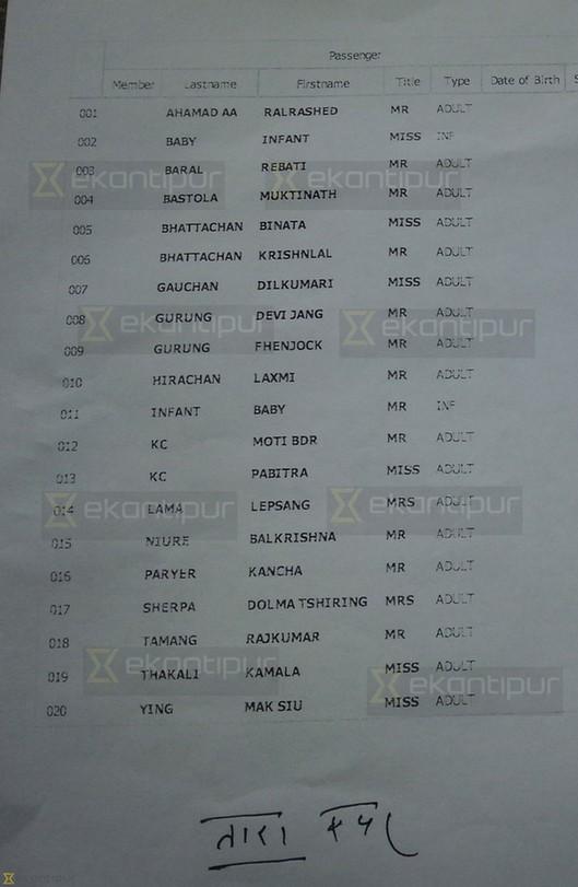 图为失踪客机的乘客名单