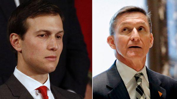 弗林/白宫称库什纳(左)和弗林(右)曾于去年12月与俄罗斯驻美国...