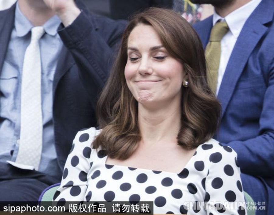 资深网球迷凯特王妃观战温网 最新表情包上线