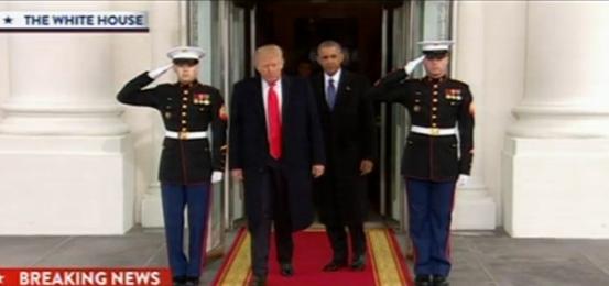 奥巴马特朗普离开白宫前往国会