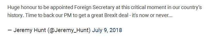 英国外交大臣辞职 指责首相向欧盟举白旗投降